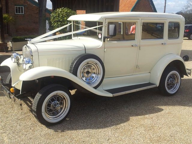 vintage style wedding car in cream ivory white for hire in essex