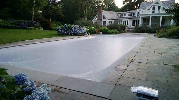 Attrayant Pool Cover With Stone Patio   Solar Pool Enclosures Of NY Inc In New Jersey  And