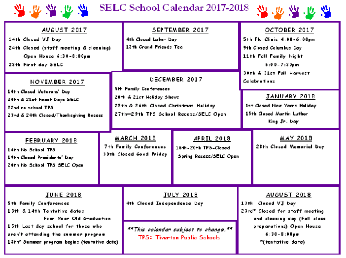 Tps Calendar.School Calendar Tiverton Ri Sakonnet Early Learning Center