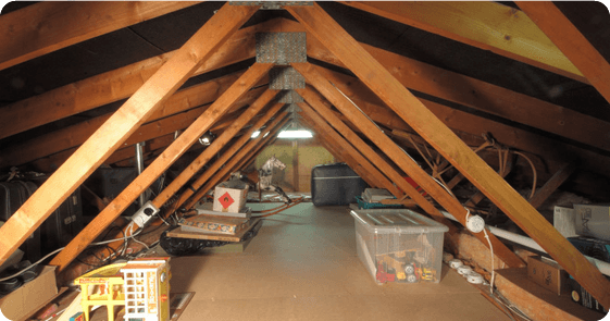 An attic with old toys and boxes