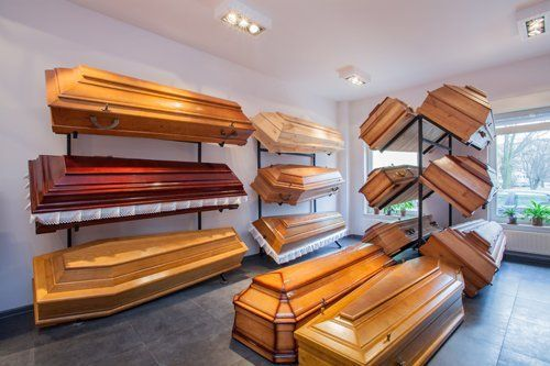 Coffins in the store