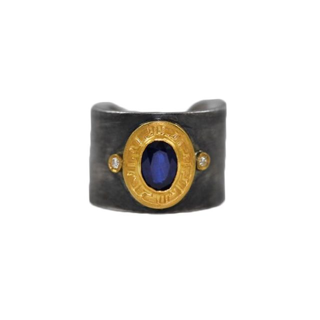 blue sapphire 24 karat yellow gold and silver cuff ring