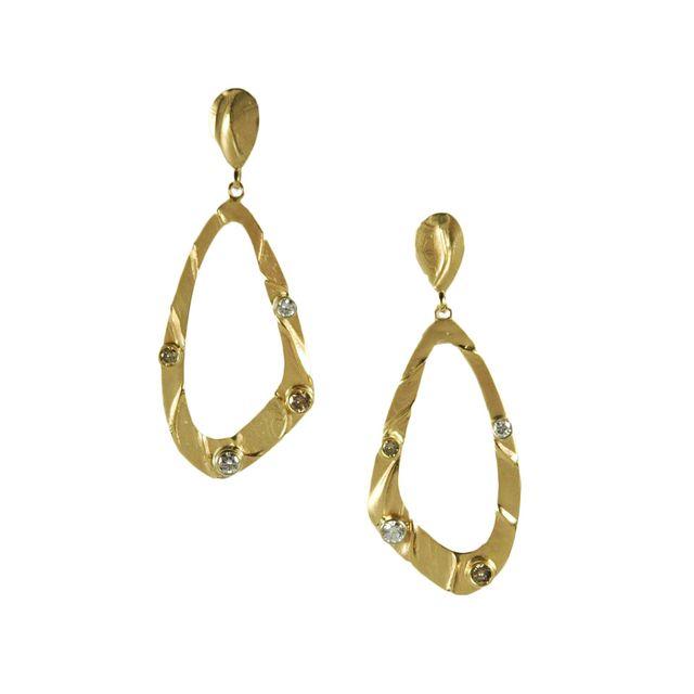 champagne diamond dangle gold earrings