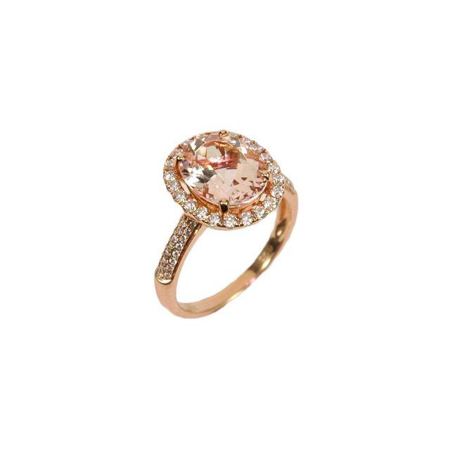 morganite rose gold halo ring