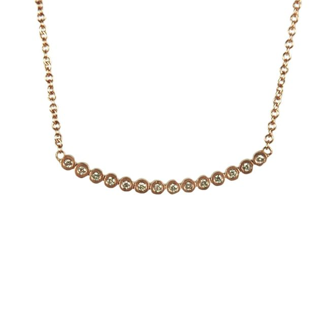Diamond and Rose Gold Bezel Necklace
