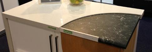 Multi colour quartz surface custom made counter top installed by experts