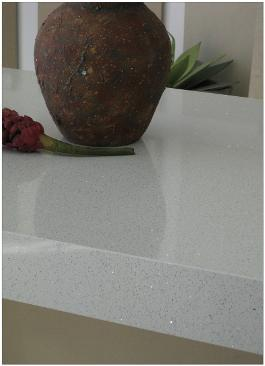 White colour non porous quartz surface installed at the customer house