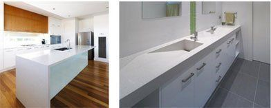 White colour NaturaStone kitchen work surface