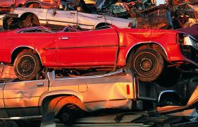 Old cars at the junkyard