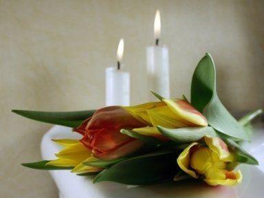 cuscino funebre candele