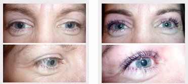 Thicker longer lashes with eyelash tinting and lifting