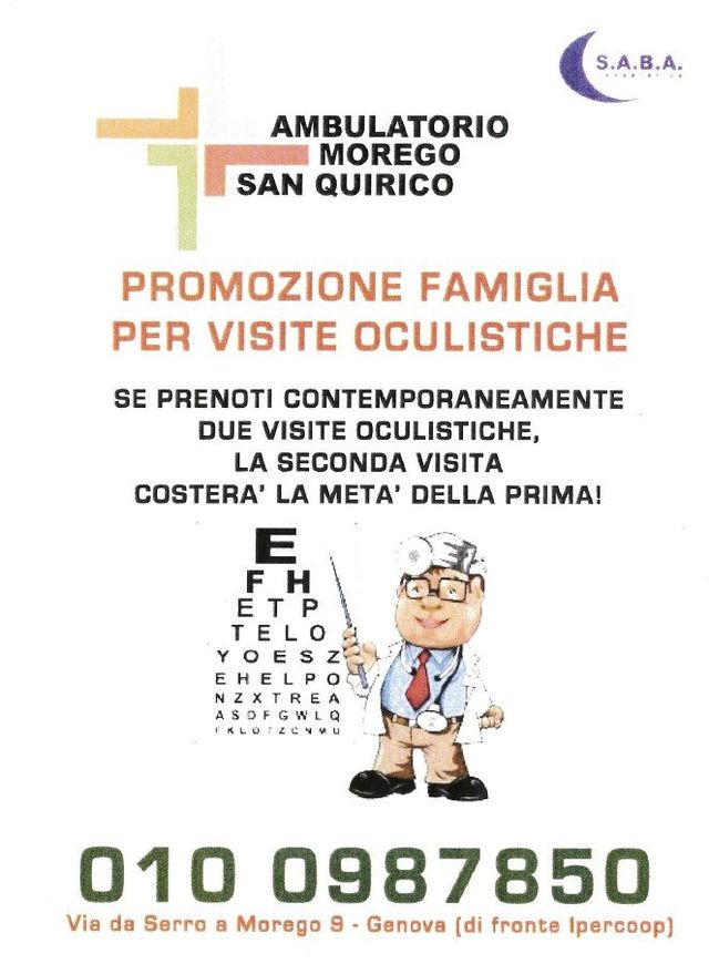 promozione oculista Ambulatorio Morego Genova