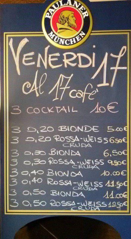 prezzi listino dei cocktail e birre al 17 Caffe'