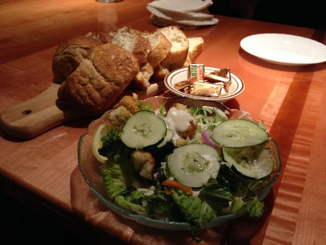 Charlmont Restaurant salad and homemade bread