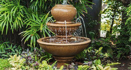 water feature in a tropical garden