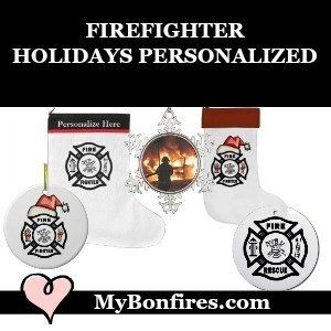 Firefighter Christmas Ornaments and Holiday Stockings Personalized