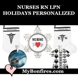 Christmas Ornaments and Christmas Stockings Personalized For RN LPN Nurses
