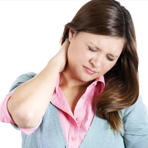 A woman suffering neck pain