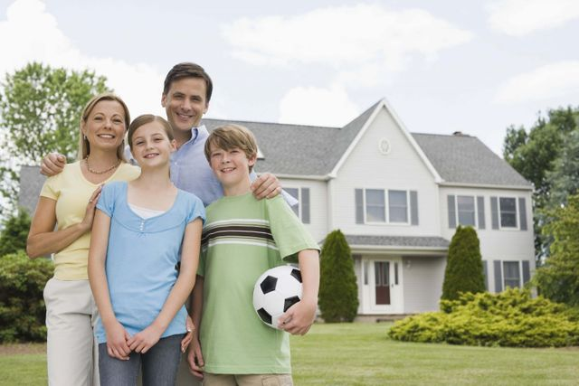 Family happy with their home insurance