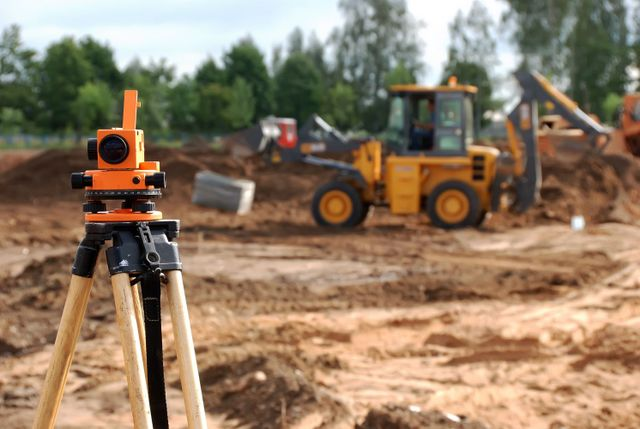 Land surveyors on construction site in Lincoln, NE