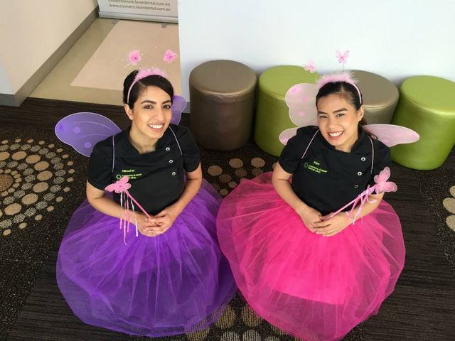two dental assistants in costume