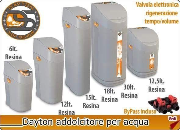 Diversi modelli di addolcitori per acqua Dayton