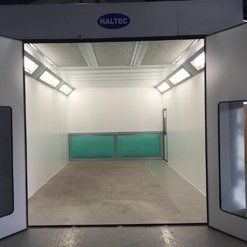 A new, empty car spray booth