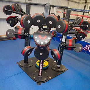 several weight lifting equipment
