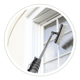 window cleaning with brush