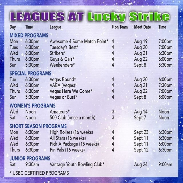 Leagues at Lucky Strike Bowl