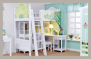Children's bedroom with white furniture and green walls