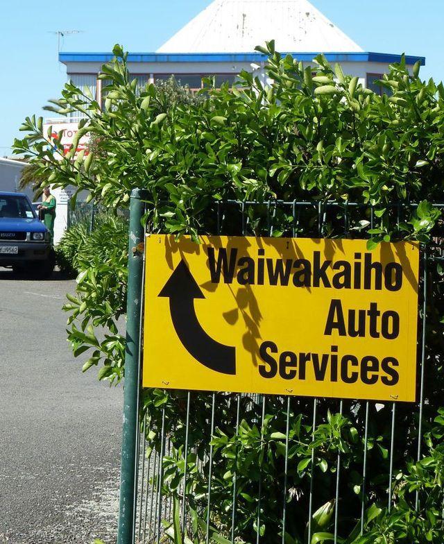 Waiwakaiho auto services sign
