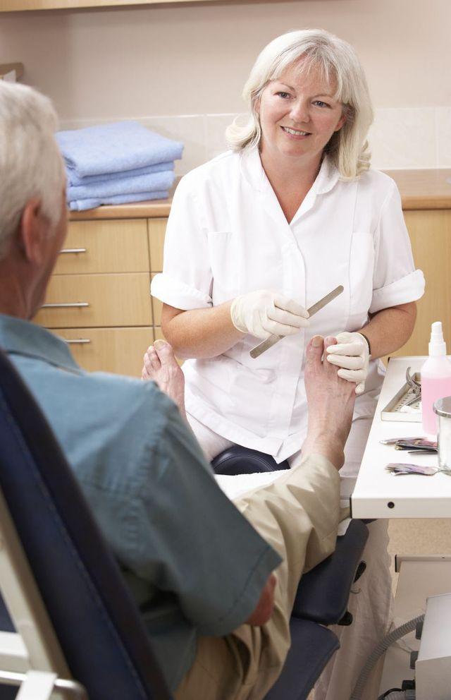Patient at a Hamilton foot clinic