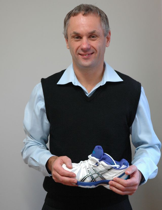 A podiatry expert trying out new shoes in Hamilton
