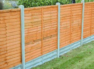 A close up of a tall, panelled garden fence