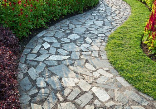 A close up of a garden path