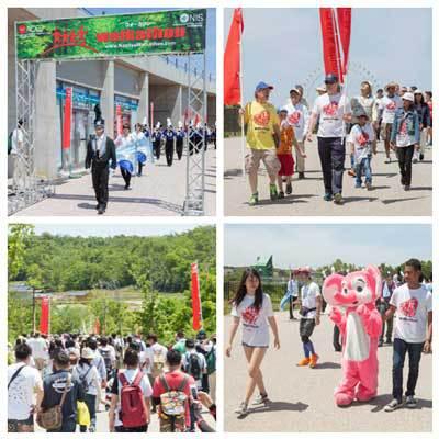 Participants walking the course at Chubu Walkathon