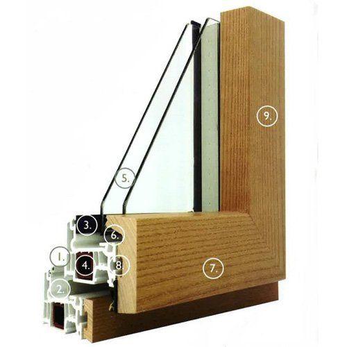 Sezione finestra in PVC e legno