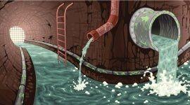 Disegno dell'interno di una rete  canale sotterraneo  urbano