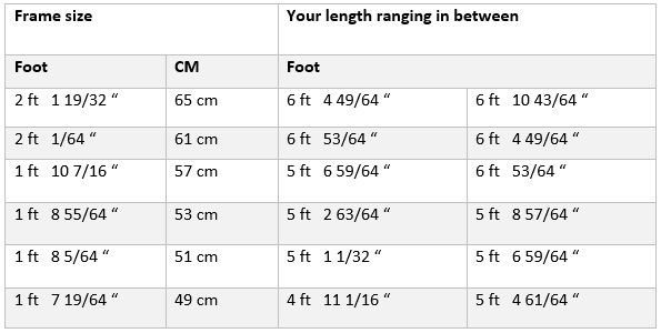 dutch bike specialist size guide
