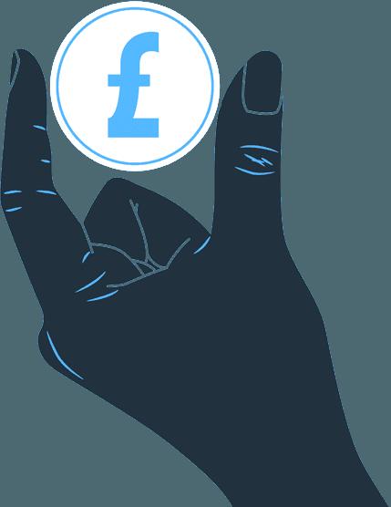 Cartoon hand holding a pound sign
