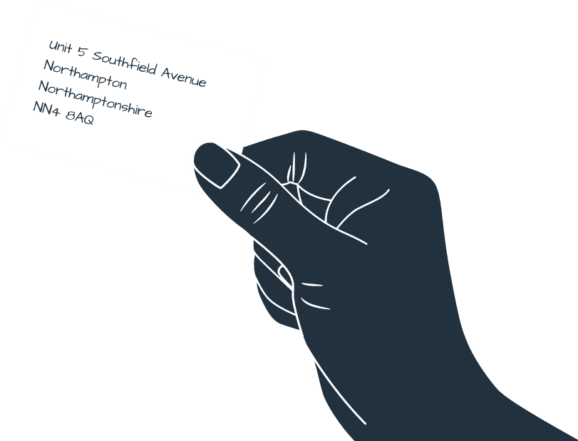 Cartoon hand holding Perretts' address