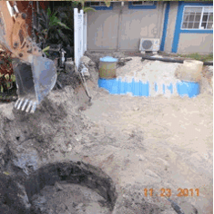 Septic digging and tanks being buried