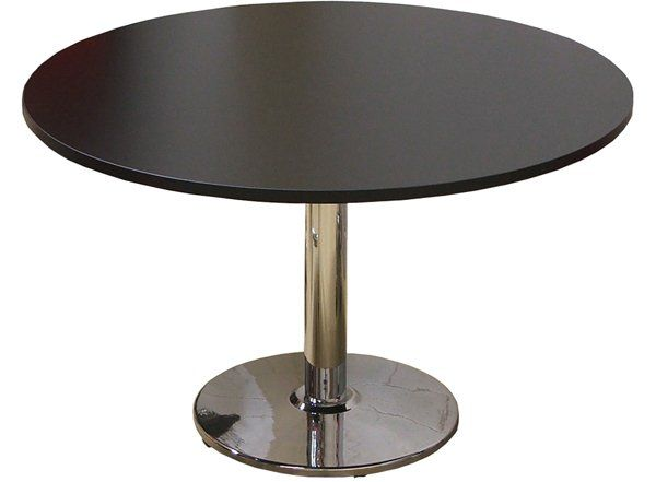 black round meeting table with disc base