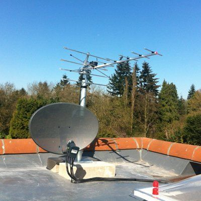 dish and aerial on rooftop