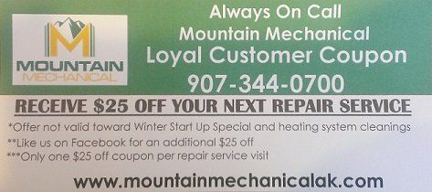 Mountain Mechanical Coupon, Plumbing Coupon, Heating Coupon, Always On Call Mountain Mechanical Coupon