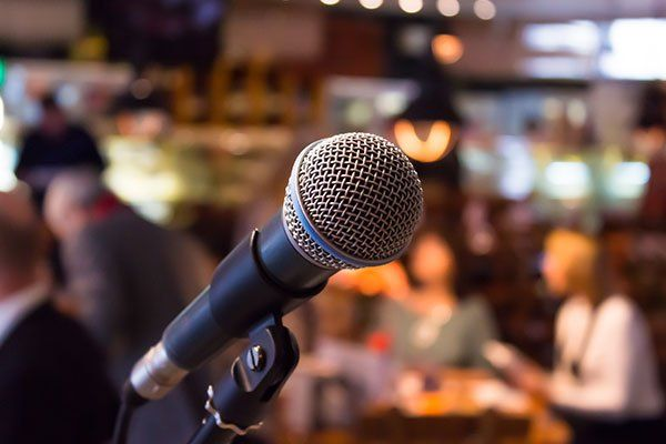 Microphone in jazz club