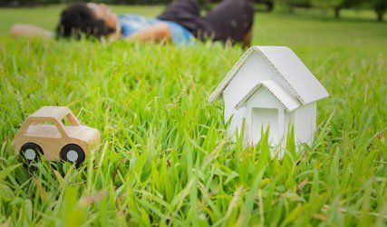 miniature house on lawn