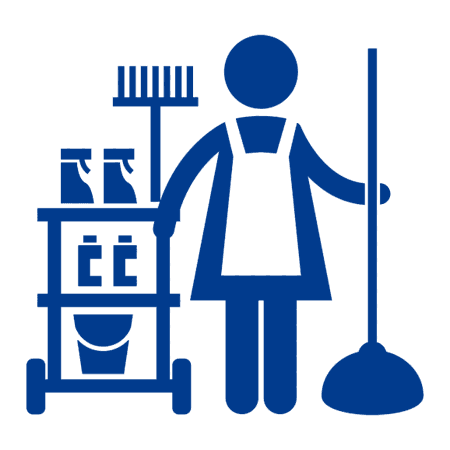 logo di un omino con un carrello delle pulizie