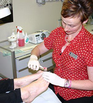 Patient foot nail being treated at the Boyce Podiatry